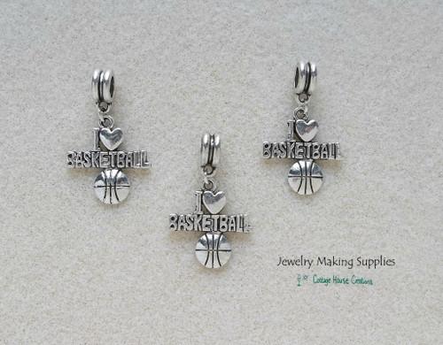 I Love Basketball European Style Charm Dangle for DIY Jewelry