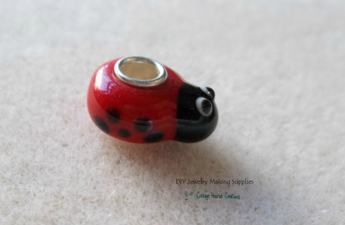 LadyBug Beetle Lampwork European Large Big Hole Euro Bead