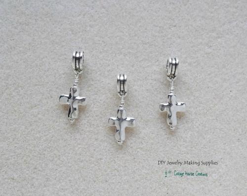 Silver Cross Charms European Dangles for Bracelets