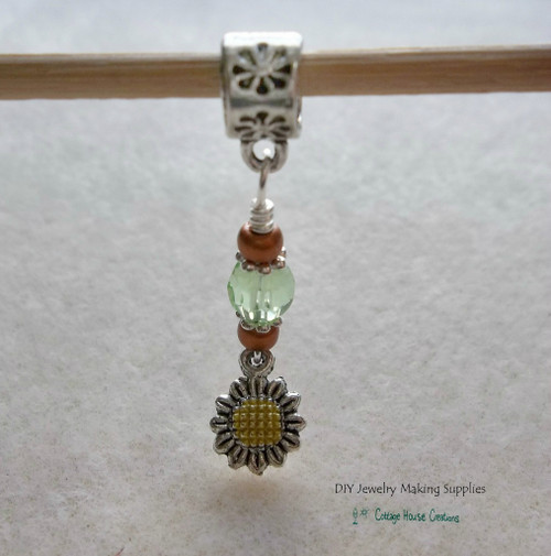 Sunflower Large Hole European Bead Charm Dangles 3pc