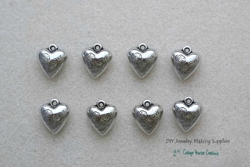 Puffy Heart Acrylic Charm Pendant Jewelry Making Supplies