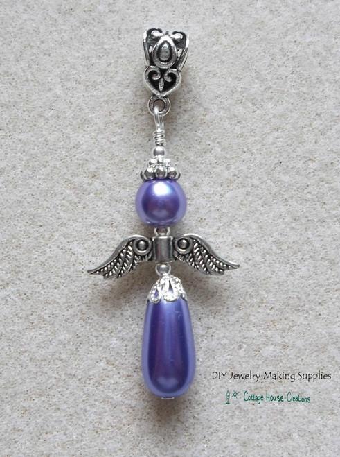 Purple Angel Tapered  Pearl Pendant
