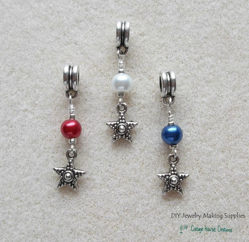 Red White Blue Star Patriotic Large Hole European Bead Charm Dangles 3pc