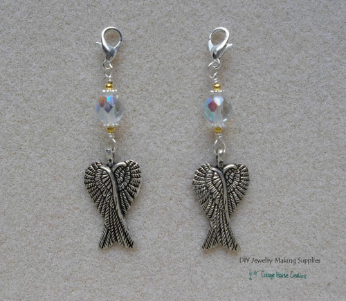 Clip-On Folded Angel Wing Pendant Charms  2pc