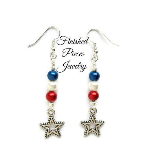 Patriotic Star Dangle Earrings Finished Pieces