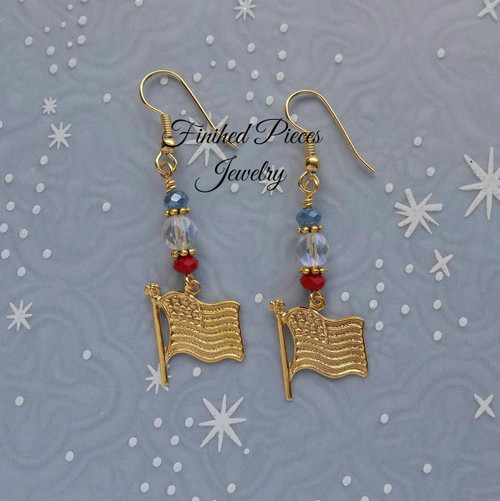 American Flag Dangel Earrings Finished Pieces