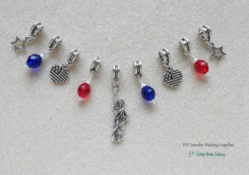 9pc Liberty Patriotic Fourth of July Euro Large Hole Charm Dangles