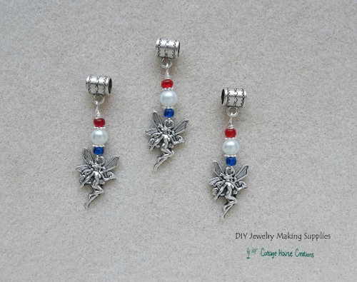 Patriotic Fairy Charms European Bead Dangle Charms 3pc