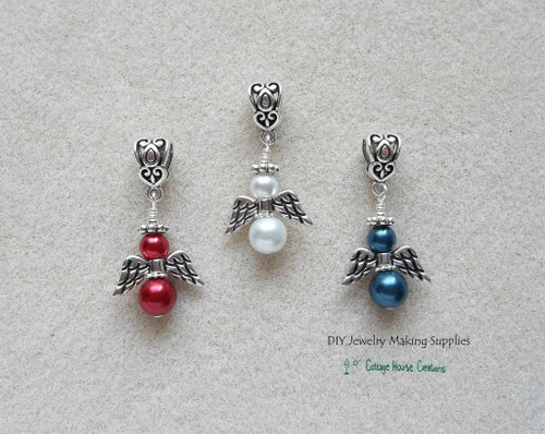 Patriotic Angels Euro Charm Large Hole Dangles Fourth of July