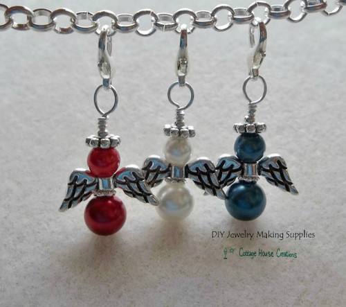 Patriotic Angels Clip-On Charm Dangles Fourth of July Red White Blue