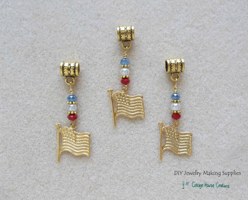 American Flag Gold Euro Bead Charm Dangles
