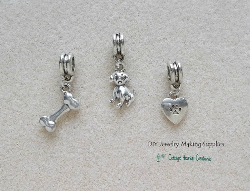Puppy Dog Heart Bones Large Big Hole Euro Dangle Charms