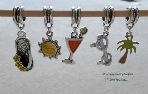 Summer Fun Charms European Bead Dangle Charms 5pc