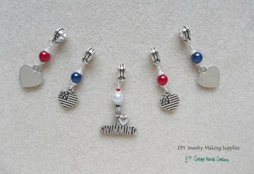 I Love Swimming Charm Set American Olympics 5pcs.