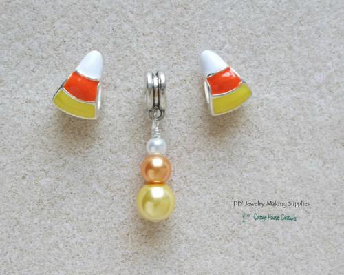 Candy Corn Bead Charms Large Big Hole European Bead Dangle Charms 3pc set