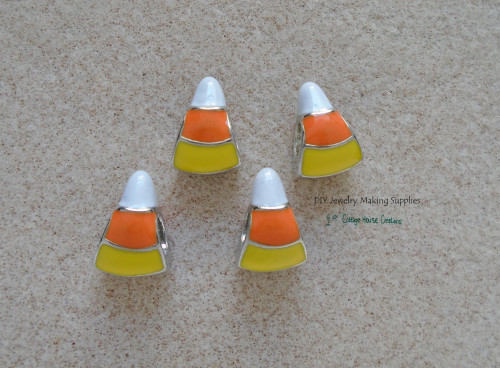 4pcs. Candy Corn Enameled Beads Large Hole Double Sided