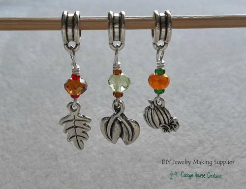 Autumn Harvest Fall Changing Colors of the Leaves 3pc Charm Set Large Big Holes for European Charm Bracelet