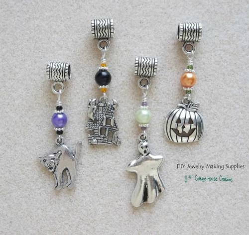 4pc Halloween Euro Charm Set Large Hole Beads Cat Haunted House Ghost Jack o Lantern