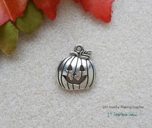 Jack O Lantern Halloween Pumpkin DIY Charms 8pc for Jewelry Making Supply