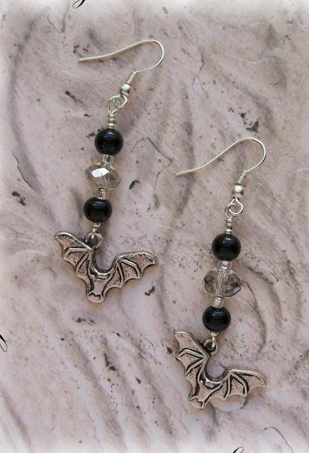 Flying Bat Vampire Halloween Beaded Earring Supplies Kit