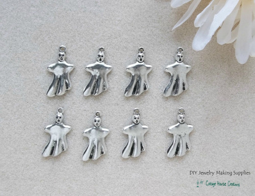 Ghost Halloween Charms 8pc for Jewelry Making Supply Lead Free Pewter