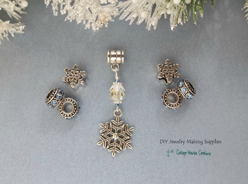 Winter Snowflake Sapphire Charm Crystal Dangle European 7pc Bead Set