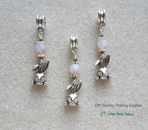 Bunny Rabbit Face Charms for Easter Large Big Hole Beads for Charm Bracelets DIY