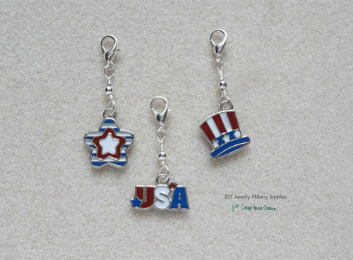 Clip On Patriotic July 4th Enameled USA Star Tophat