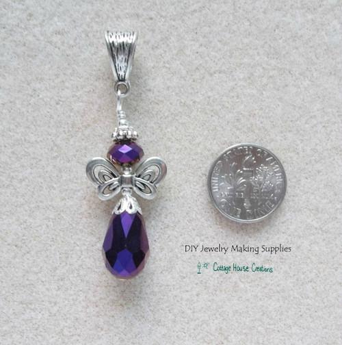 Midnite Purple Crystal Angel Teardrop Pendant Focal