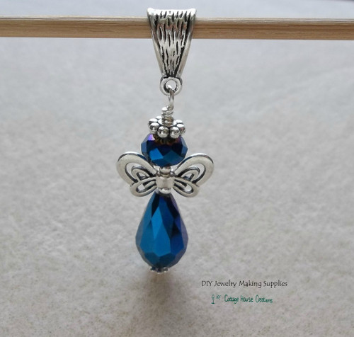 Midnite Blue Crystal Angel Teardrop Pendant Focal