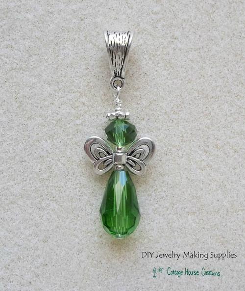 Emerald Crystal Angel Teardrop Pendant