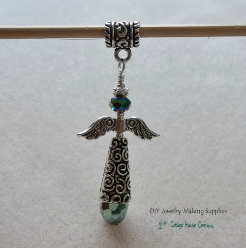Mystic Green Crystal Guardian Angel Pendant