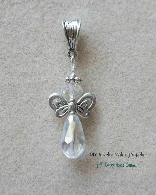 Aura Borealis Crystal Angel Teardrop Pendant