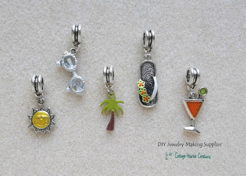 Summer Fun Euro Charms Flip Flops, Sun, Sunglasses, Palm Trees, Frozen Drink