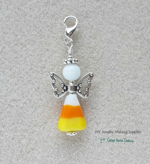 Candy Corn Fairy Angel Clip-On Lobster Claw Beaded Charm Pendant