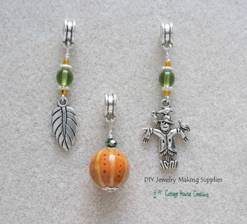 Large Hole Beads 3pc Harvest Fall Autumn Mix Thanksgiving Scarecrow Pumpkin Leaf for Charm Bracelets
