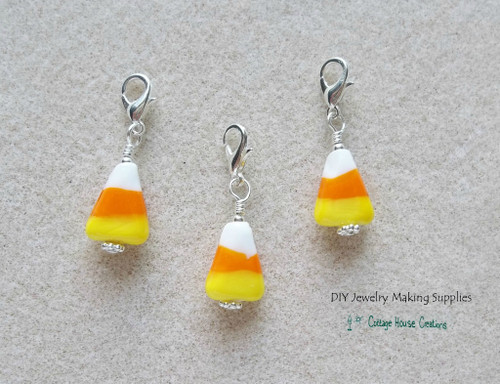 Candy Corn Lampworked Clip On Lobster Claw Charms for Jewelry Making DIY