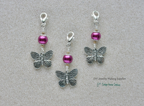 Regal Butterfly Fuchsia Clip On Dangle Charms for Bracelets Zipper Pull Purse Charm DIY Jewelry Supplies