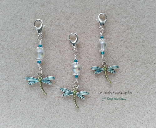 Dragonfly Clip On Dangle Charms for Bracelets Zipper Pull Purse Charm DIY Jewelry Supplies