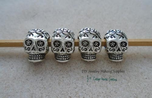 Sugar Skull Beads Día de Muertos Large Big Hole Paracord Bracelet DIY Jewelry Making Bead