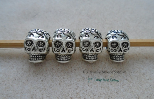Sugar Skull Beads Día de Muertos Large Big Hole Paracord Bracelet DIY Jewelry Making Bead