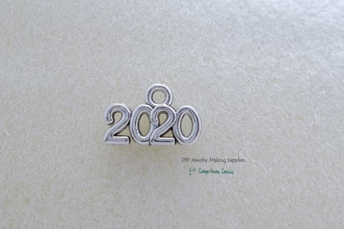 2020 Year (8pc.) Small Charms Silver Worded Graduation Celebration Sports Wedding Birth Announcement Jewelry Making Supply Lead Free Pewter