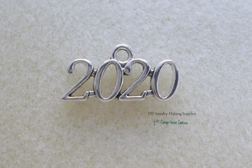 2020 Year (8pc.) Sleek Charms Silver Worded Graduation Celebration Sports Wedding Birth Announcement Jewelry Making Supply Lead Free Pewter