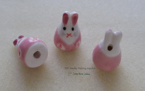 "3pc Rabbit Easter Pink Bunny Ceramic Bead 6"" Strand DIY Jewelry Making Supply"