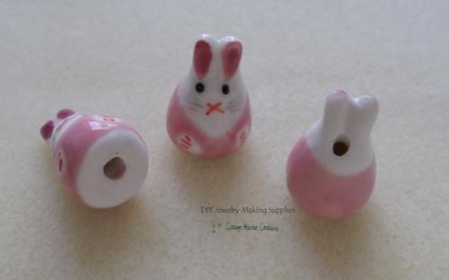 "3pc Rabbit Easter Pink Bunny Ceramic Bead 6"" Strand DIY Jewelry Making Supply"