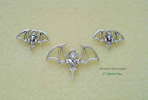 Vampire Bat Charm Set Large and Small Halloween Charms perfect for Necklace and Earrings 3pc for Jewelry Making Supply Adult Crafting