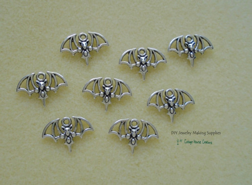 Small Bat Halloween Charms 8pc for Jewelry Making Supply Adult Crafting Lead Free Pewter