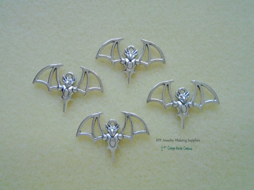 Large Bat Halloween Charms 4pc for Jewelry Making Supply Adult Crafting Lead Free Pewter