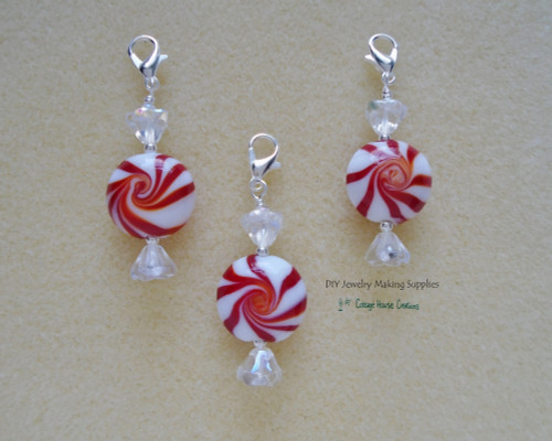 3pc. Peppermint Candy Clip On Lobster Clasp Christmas Candy Charm Zipper Pull Bracelet Planner