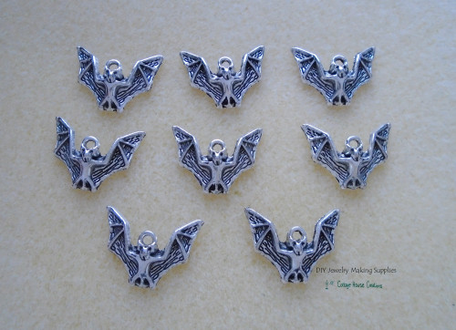 Flying Vampire Bat Halloween Charms 8pc for Jewelry Making Supply Adult Crafting Lead Free Pewter